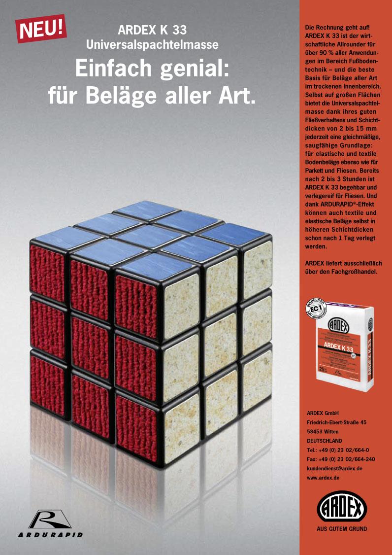 Ardex Produktanzeige: Rubikwürfel