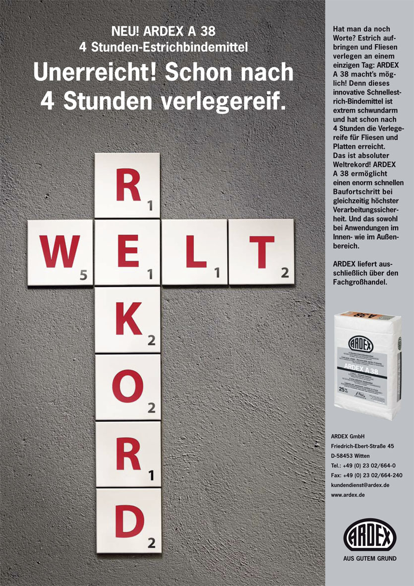 """Ardex Produktanzeige: Scrabble-Buchstaben """"Weltrekord"""""""