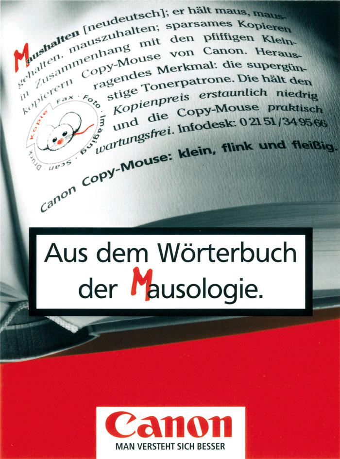 """Canon Produktanzeige: Wörterbuch der Mausologie """"Maushalten"""""""