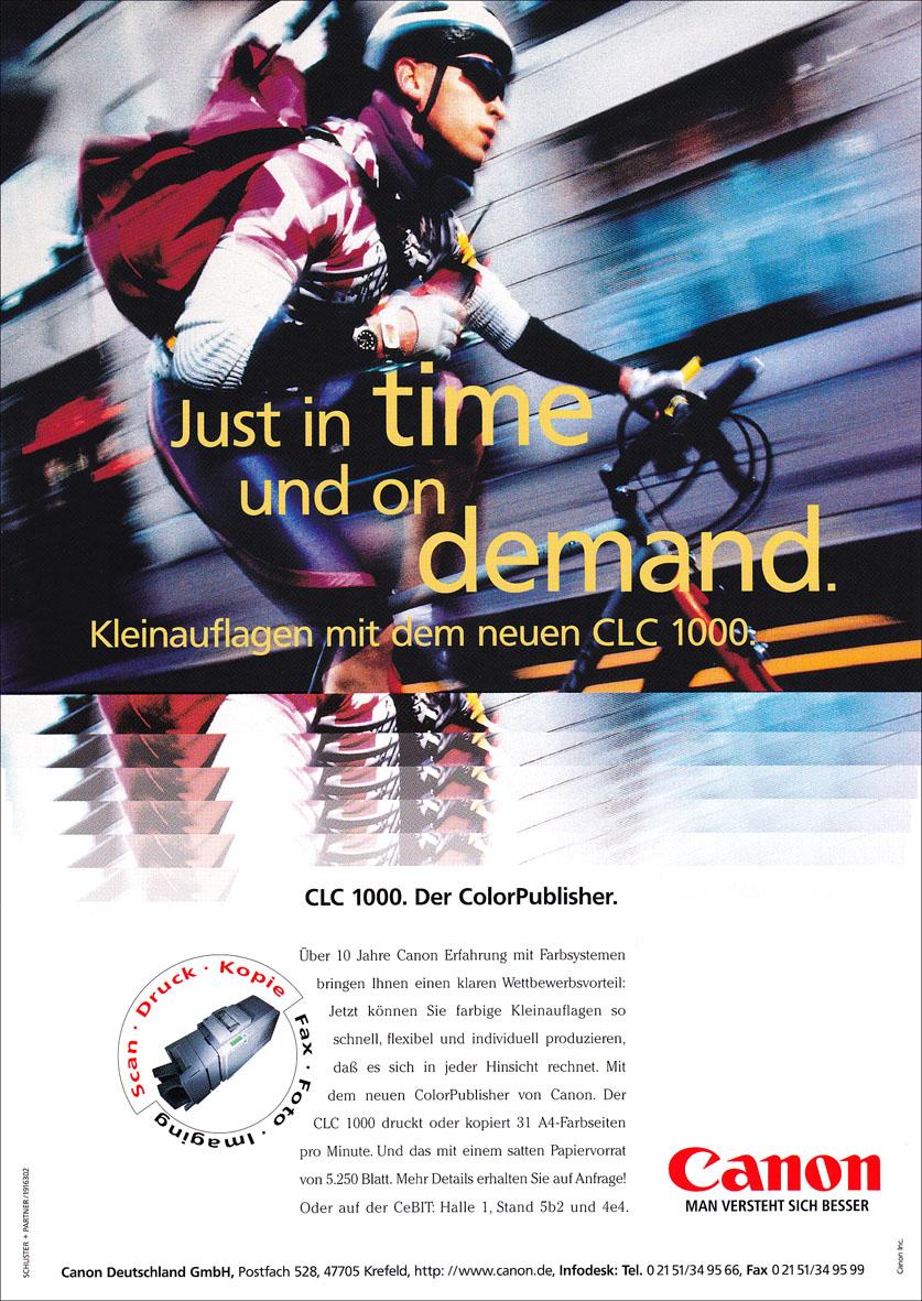 Canon Produktanzeige: Fahrradkurier