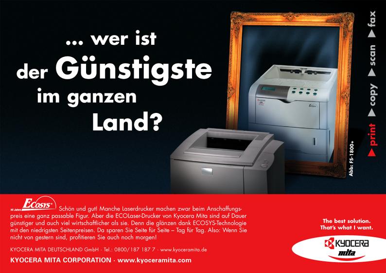 Kyocera Produktanzeige: ECOLaser-Drucker - Uwe Groß (Konzept/Text)
