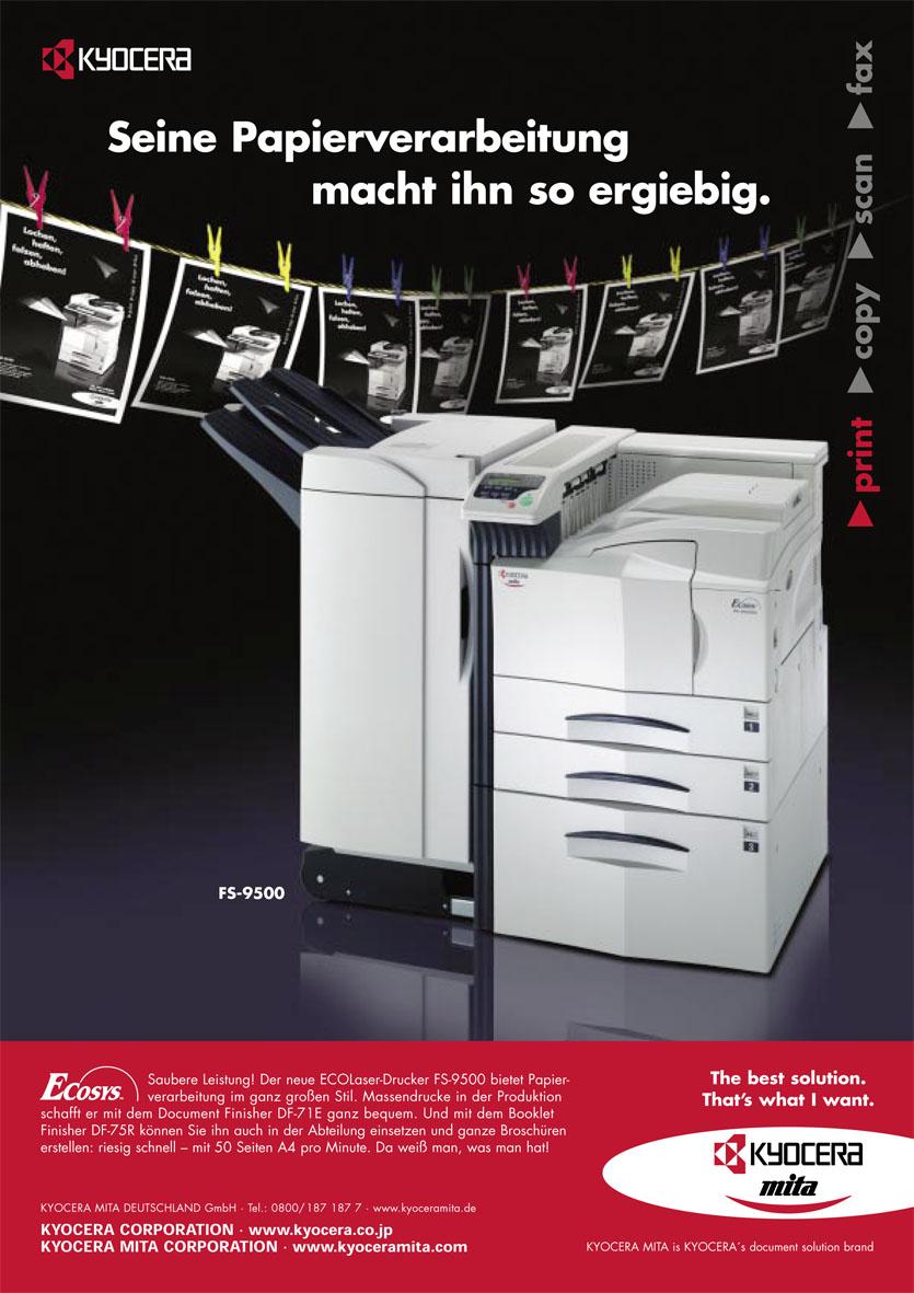 Kyocera Produktanzeige: Papierverarbeitung - Uwe Groß (Konzept/Text)