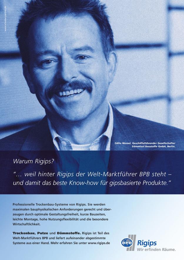 Rigips Imageanzeige: Marktführerschaft- Uwe Groß (Konzept/Text)