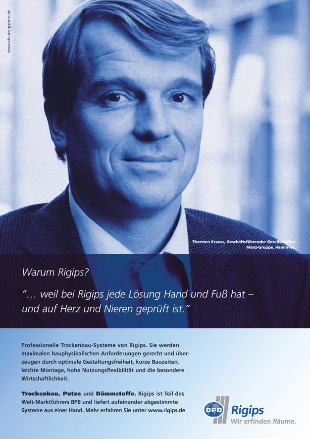 Rigips Imageanzeige: Qualität - Uwe Groß (Konzept/Text)