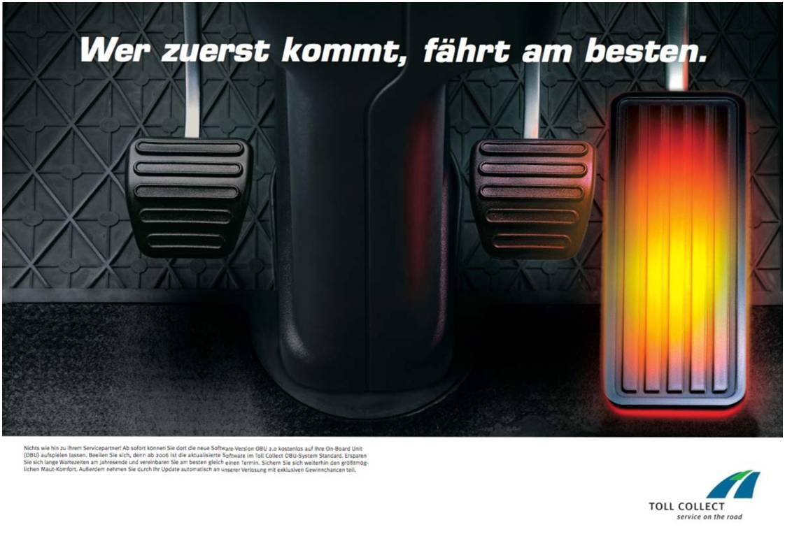 Toll Collect Produktanzeige: Frühbucher - Uwe Groß (Konzept/Text)