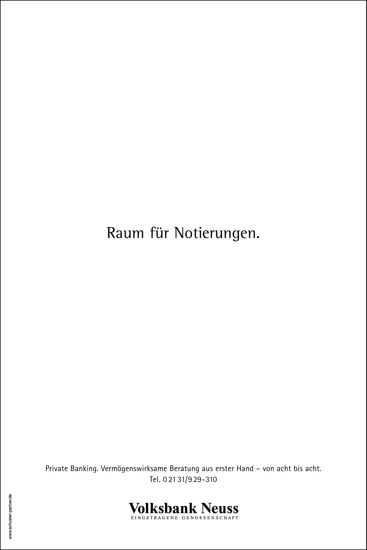 Volksbank Tageszeitungsanzeige: Textanzeige 3