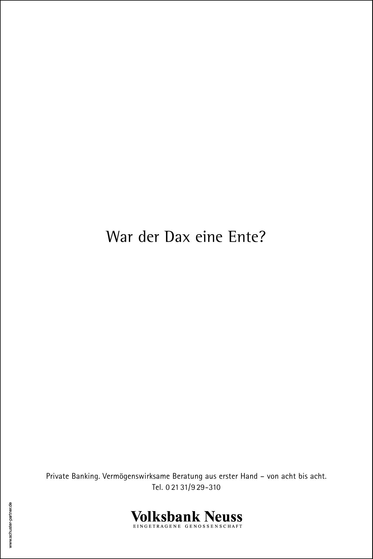 Volksbank Tageszeitungsanzeige: Textanzeige 1